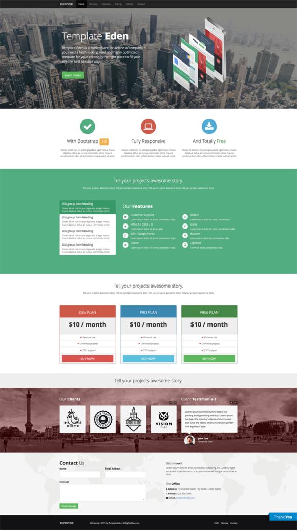 Expose Single Page Website Tempate