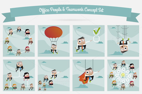 Office People Teamwork Concept Set