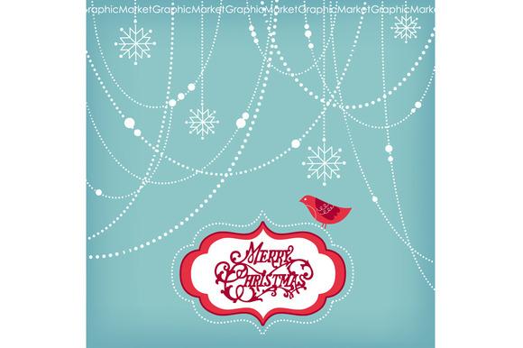 Christmas Clip Art Bird Garlands