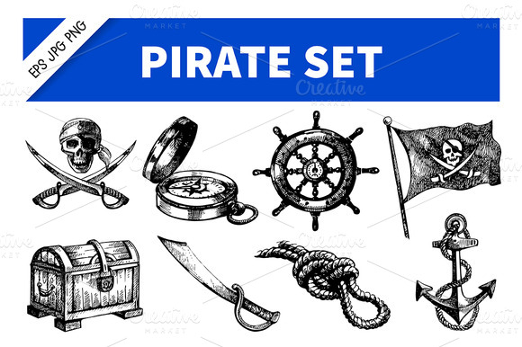 Hand Drawn Sea Pirate Set