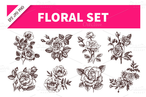 Rose Floral Hand Drawn Set