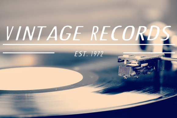 Vintage Records Logo Vector PSD