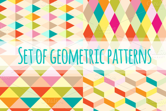 Set Of Colored Geometric Patterns