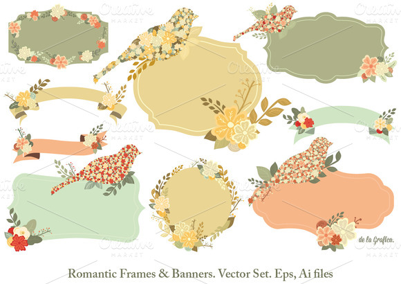 Romantic Frames Banners Vector Set