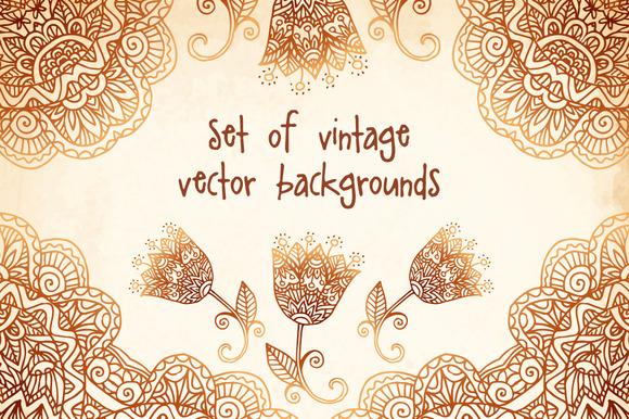 Set Of 6 Vintage Vector Backgrounds