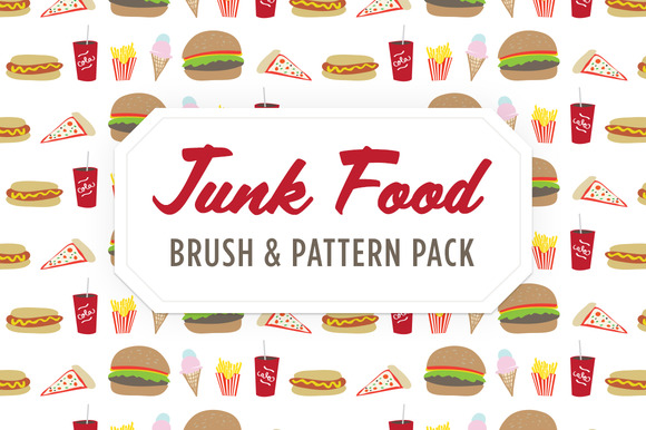 Junk Food Brush Pattern Icons