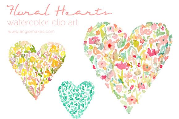 Watercolor Floral Hearts