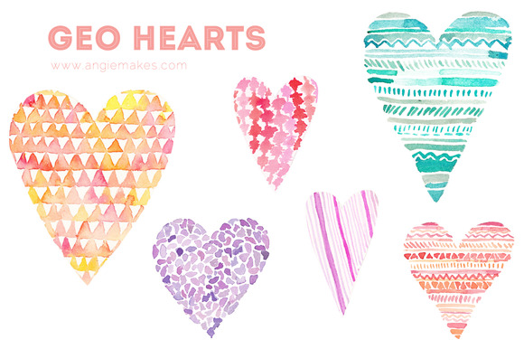 Geometric Hearts Watercolor Clip Art