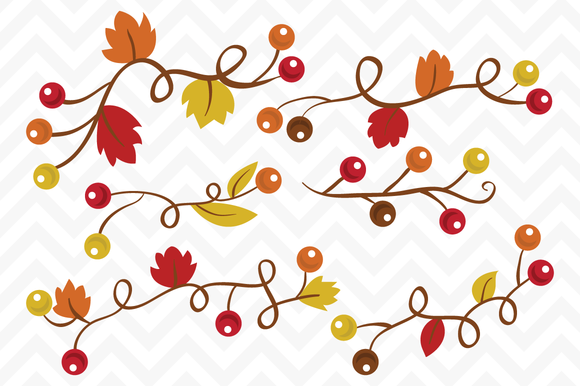 Clip Art Vector Fall Berry Vines