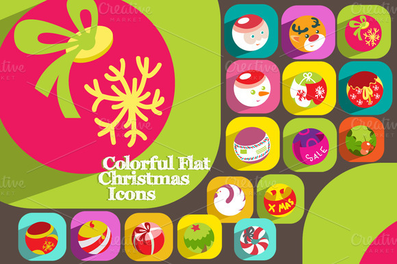 16 Colorful Flat Christmas Icons