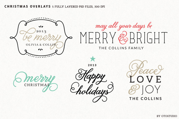 Digital Christmas Overlays Set 2