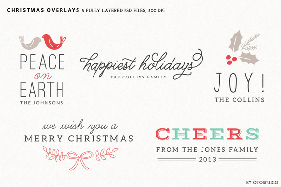 Digital Christmas Overlays Set 1