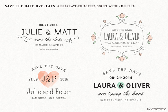 Save The Date Overlays Set 1