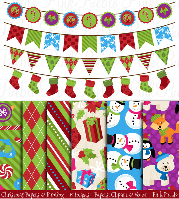 Christmas Digital Papers Bunting