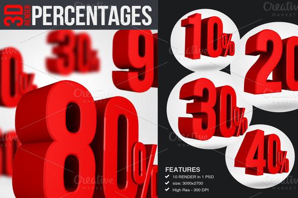 Percentages 3D Render