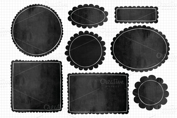Scalloped Edge Chalkboard Frames