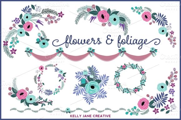 Blue Purple Floral Design Elements