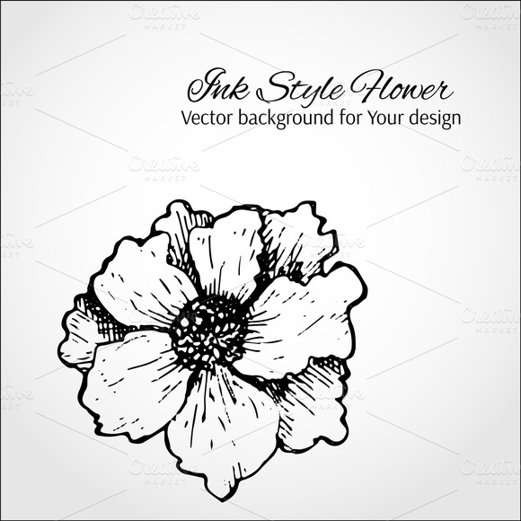 Vector Ink Flower Card