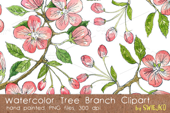 Watercolor Flowers Branch