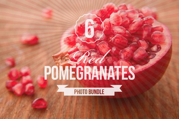 Red Pomegranates Photo Bundle Of 6
