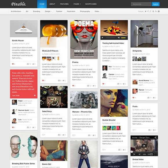 Pinable WordPress Magazine Theme