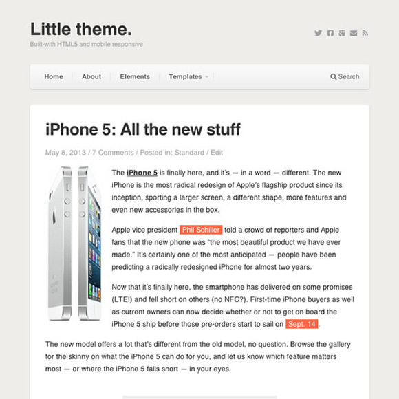Little WordPress Blog Theme