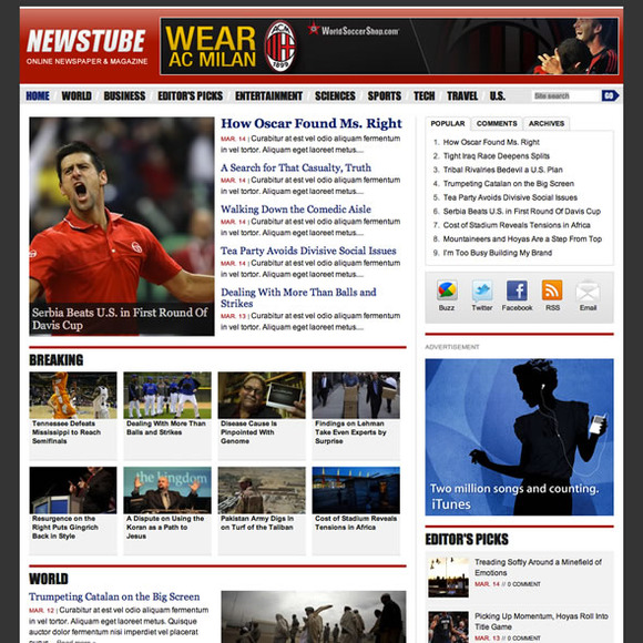 NewsTube WordPress News Theme
