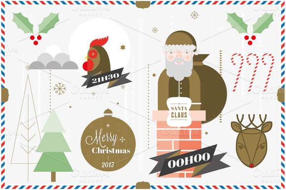 Christmas Postcard Elements