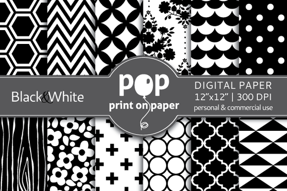 Black White 12 Digital Papers