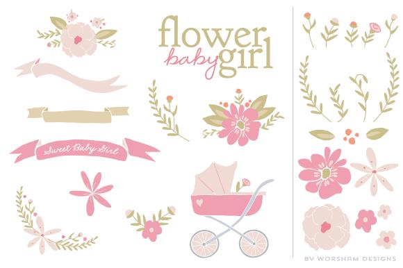 Flower Baby Girl Clipart