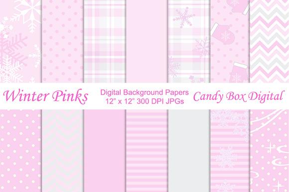 Winter Pink Digital Background Paper