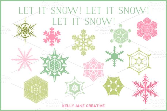 Pastel Snowflakes Vector