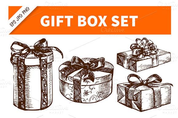 Gift Box Hand Drawn Vintage Set