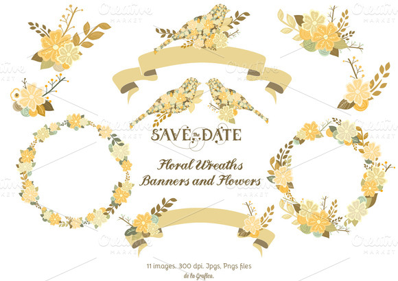 Floral Wreaths Banners Flowers