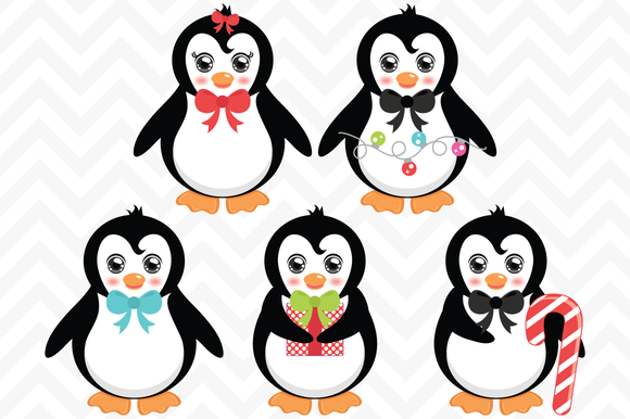 Vector Christmas Penguins Clip Art