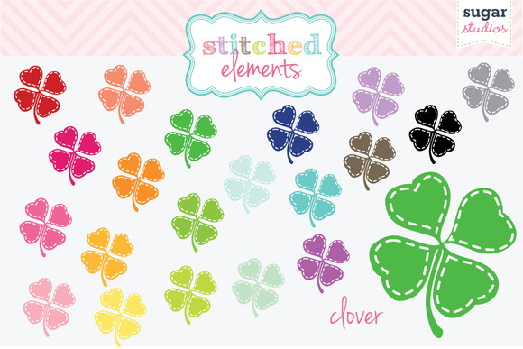 Stitched Four Leaf Clover Clover