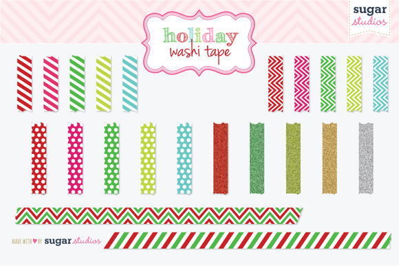 Christmas Washi Tape Clipart
