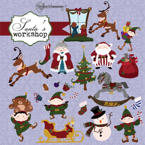 Santa S Elves Christmas Clipart