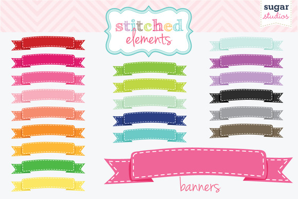 Stitched Banners Digital Clipart