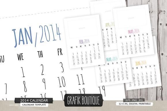 2014 Printable Calendar A4
