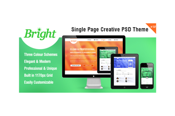 Bright Single Page PSD Template