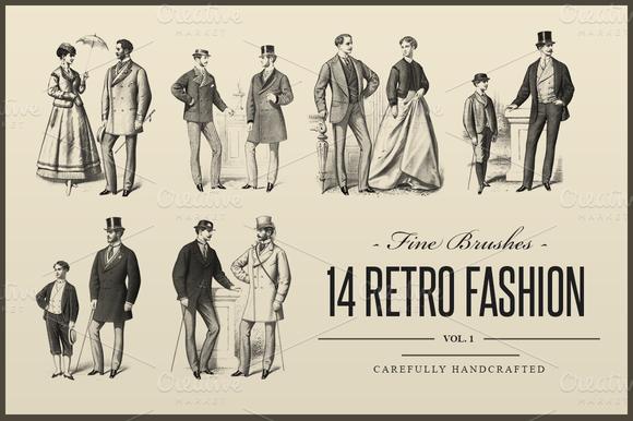 14 Retro Fashion Photoshop Brushes