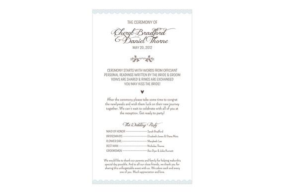 Woodland Lace Wedding Program