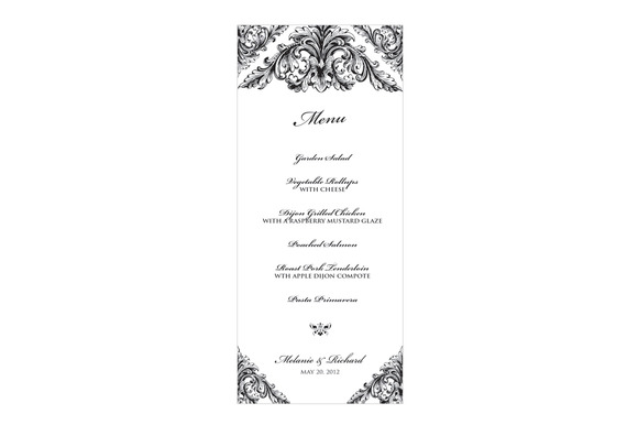 Renaissance Wedding Menu