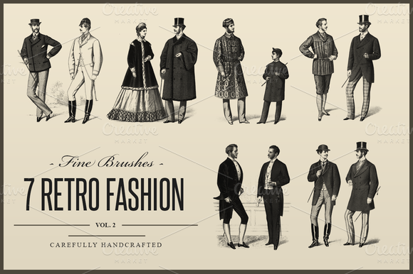 7 Retro Fashion Photoshop Brushes