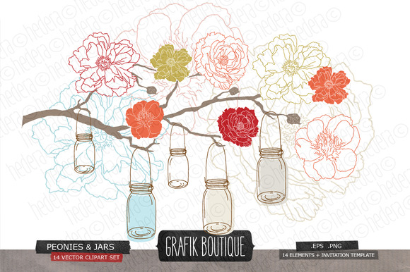 Flowers Hanging Jars Vector Wedding