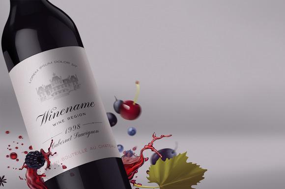 Wine Bottle And Label Mock-up