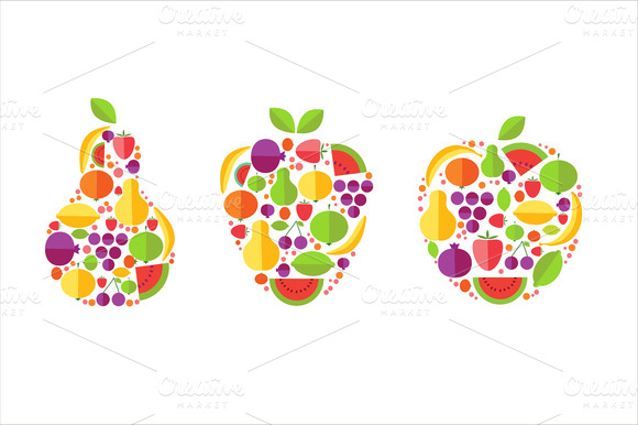 Set Of Vector Fruits Icons