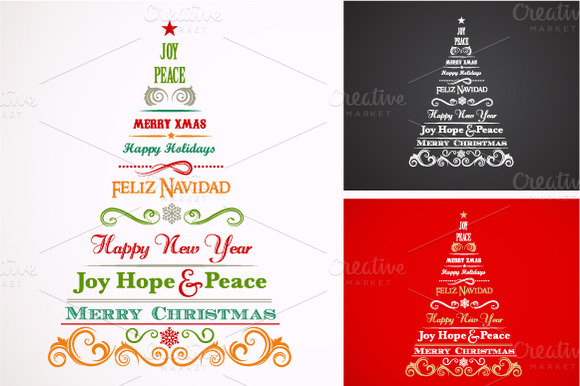 Vintage Christmas Trees With Text