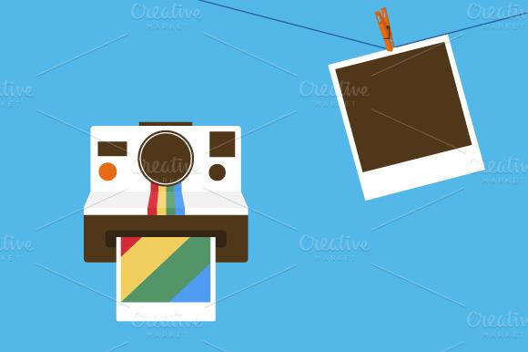 Polaroid Camera And Photo Frames